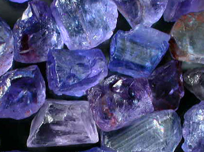 Raw Tanzanite found only in Tanzania