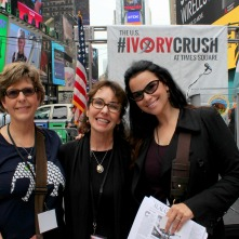 Cynthia Newlin O'Connor (center) and Christina LaMonica, in Times Square for the US Fish and WIldlife Services; Ivory Crush