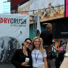 Melissa Sciaccao, Director of The David Sheldrick Wildlife Trust in Ivrine, California, and Christina LaMonica at the New York Ivory Crush in Times Square, June, 2015.